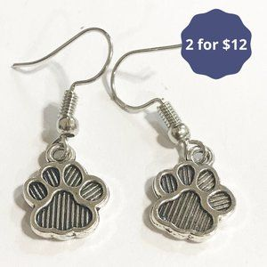 Dog Paw Dangle Earrings Silver French Hook Simple
